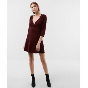 LIKE NEW EXPRESS Wire V, Fit & Flair Plum Dress